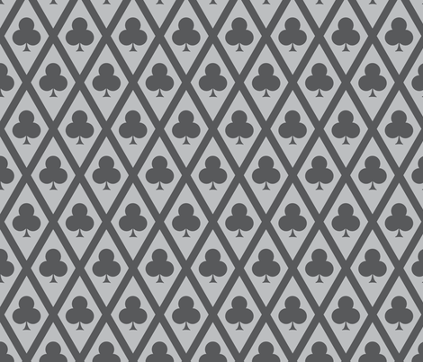 Clover's Clubs in Gray fabric by siya on Spoonflower - custom fabric