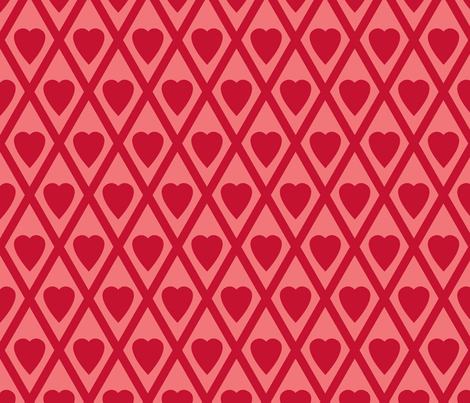 Valentina's Hearts in Red fabric by siya on Spoonflower - custom fabric