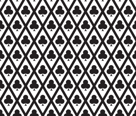 Clover's Clubs in Black and White fabric by siya on Spoonflower - custom fabric