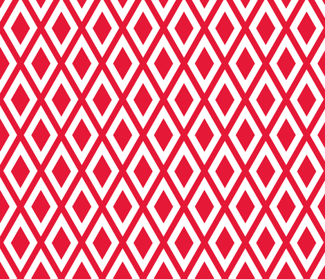 Ruby's Diamonds in Red and White fabric by siya on Spoonflower - custom fabric