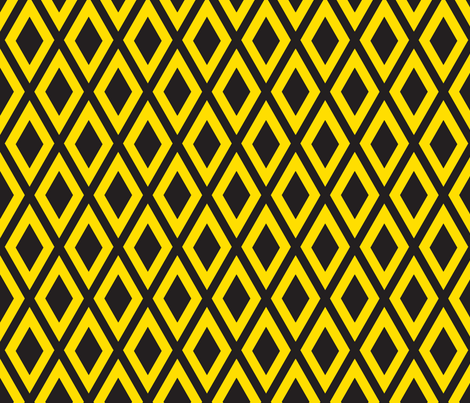 Ruby's Diamonds in Yellow and Black fabric by siya on Spoonflower - custom fabric