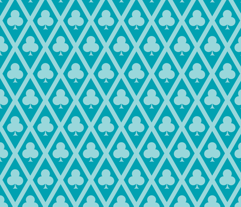 Clover's Clubs in Teal fabric by siya on Spoonflower - custom fabric