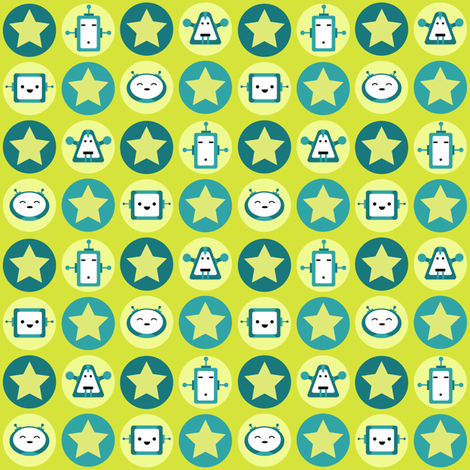 Robot Love - Teal - small fabric by fuzzyskyfabric on Spoonflower - custom fabric