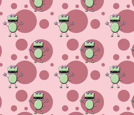 Robo Dino Pink fabric by fuzzirella on Spoonflower - custom fabric