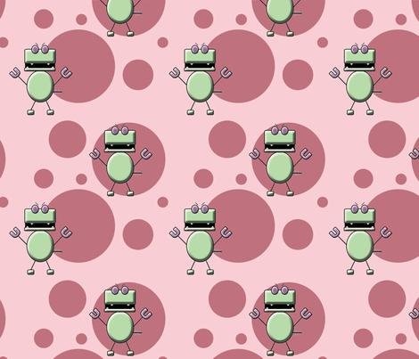 Robo Dino Pink fabric by fuzzirella on Spoonflower - custom fabric