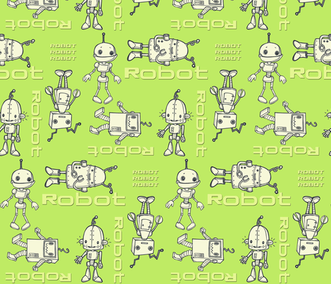 robo buddies lime fabric by mytinystar on Spoonflower - custom fabric