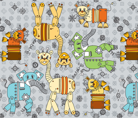 Wild Wobots fabric by karistyle on Spoonflower - custom fabric