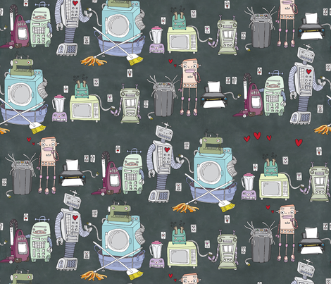 Awkward Moments in Unorthodox Robot Love fabric by sammyk on Spoonflower - custom fabric