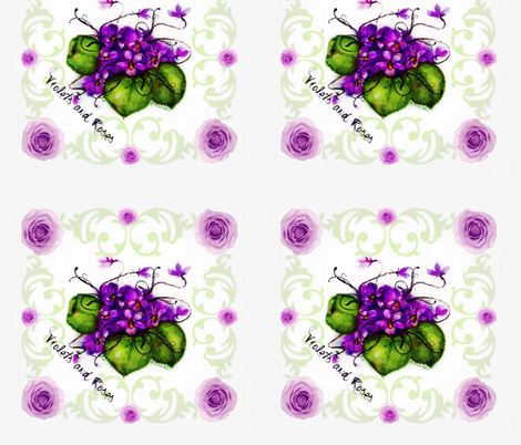 10.45 Napkins Violets and Roses Shell Background fabric by paragonstudios on Spoonflower - custom fabric