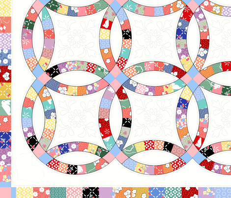 30_s_Inspired_Double_Wedding_Ring_Quilt fabric by jumping_monkeys on Spoonflower - custom fabric