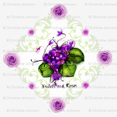 Violets and Roses , Shell background