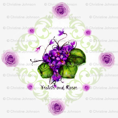 Violets and Roses Shell Background