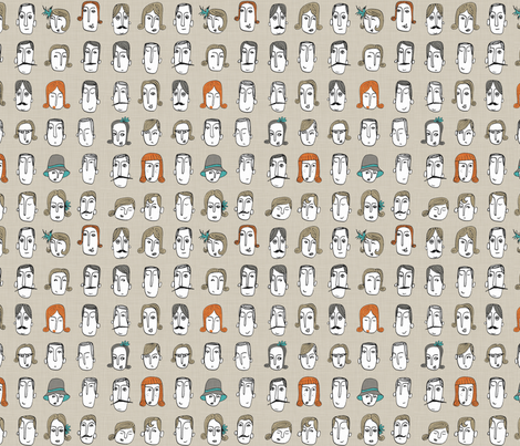 portraits fabric by mummysam on Spoonflower - custom fabric