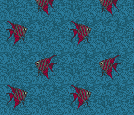Weird Fishes (Angelfish Thought Provoking) fabric by leighr on Spoonflower - custom fabric