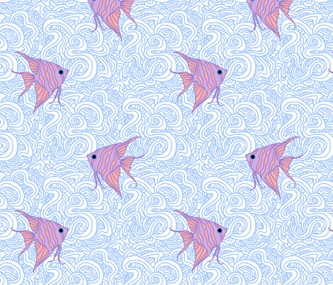Weird Fishes (Angelfish Choked) fabric by leighr on Spoonflower - custom fabric