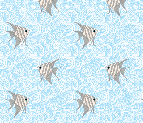 Weird Fishes (Angelfish Light) fabric by leighr on Spoonflower - custom fabric