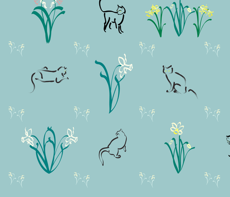 Cats-n-daffs-fabric fabric by mina on Spoonflower - custom fabric