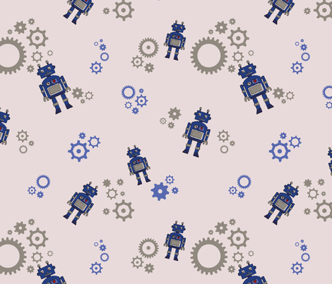 Robot with Gears fabric by jillianemily on Spoonflower - custom fabric