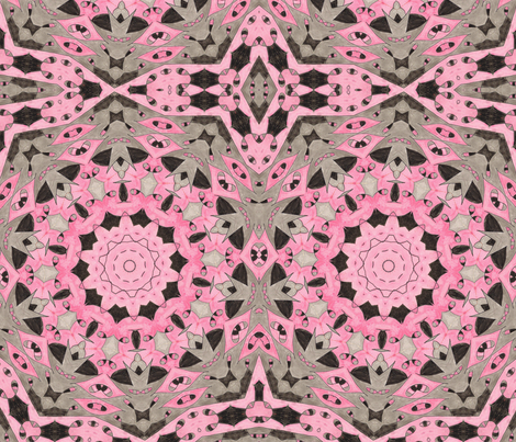 Chuckles Pink & Black Kaleidescope fabric by audarrt on Spoonflower - custom fabric