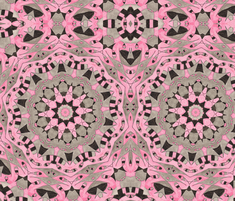 Pink & Black Kaleidescope 2 fabric by audarrt on Spoonflower - custom fabric