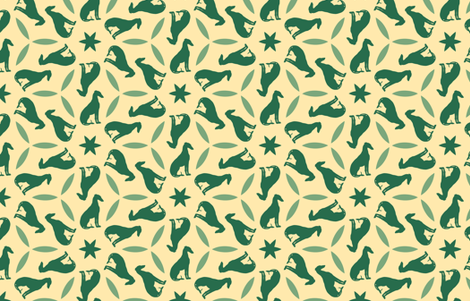 Green Greyhounds gg2 ©2010 by Jane Walker fabric by artbyjanewalker on Spoonflower - custom fabric