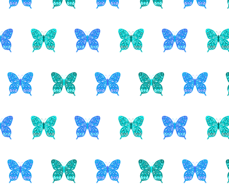 Blue Butterflies fabric by mandollyn on Spoonflower - custom fabric