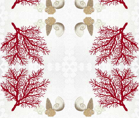 Red Coral and sea shells / bordered fabric by paragonstudios on Spoonflower - custom fabric