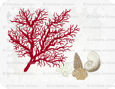 Red Coral and sea shells  / Lt. placemats border