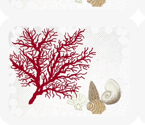 Red Coral and sea shells  / Lt. placemats border fabric by paragonstudios on Spoonflower - custom fabric
