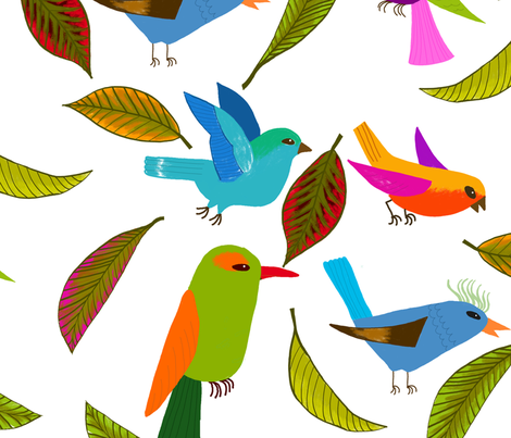 oiseau du paradis XL fabric by nadja_petremand on Spoonflower - custom fabric