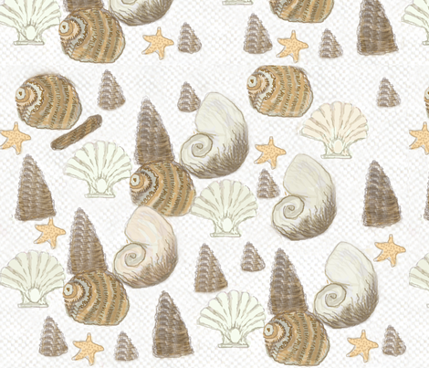 Sea shells / Lt. fabric by paragonstudios on Spoonflower - custom fabric