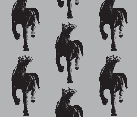 black horse fabric by arteija on Spoonflower - custom fabric