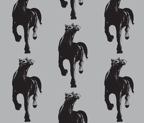 black horse fabric by arteija on Spoonflower - custom fabric