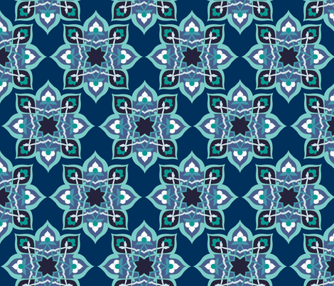 Kayseri in blue steel fabric by delsie on Spoonflower - custom fabric