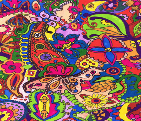 RetroCDG Hippie Doodle fabric by charldia on Spoonflower - custom fabric