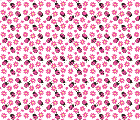 Nice Ladybug and Pink Daisy fabric by jamesdean on Spoonflower - custom fabric