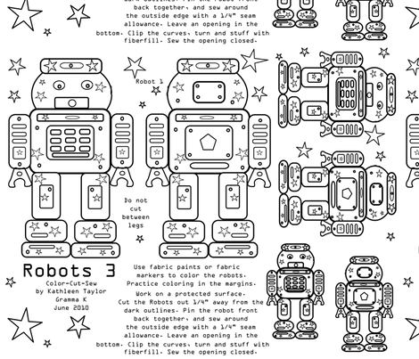 Robots 3- color, cut and sew fabric by grammak on Spoonflower - custom fabric
