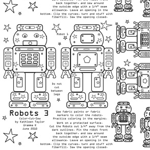Robots 3- color, cut and sew