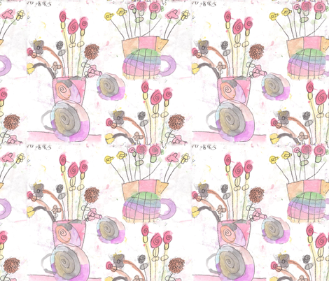 Nyrobi's Flower Painting fabric by kkitwana on Spoonflower - custom fabric