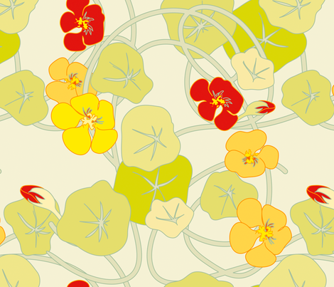 Nasturtiums Jumbo fabric by anntuck on Spoonflower - custom fabric
