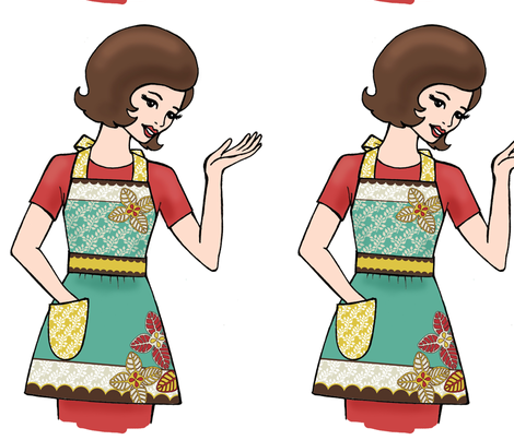 Flora Retro Apron Girl fabric by mytinystar on Spoonflower - custom fabric