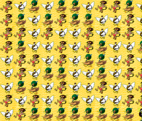 Chicken Monkey Duck fabric by jadegordon on Spoonflower - custom fabric