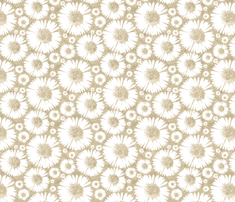 Retro Summer Daisy - Wheat fabric by kristopherk on Spoonflower - custom fabric