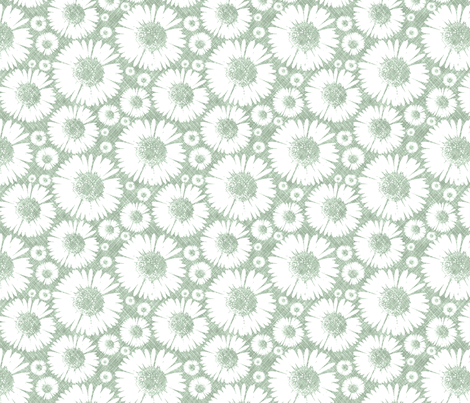 Retro Summer Daisy - Pond fabric by kristopherk on Spoonflower - custom fabric
