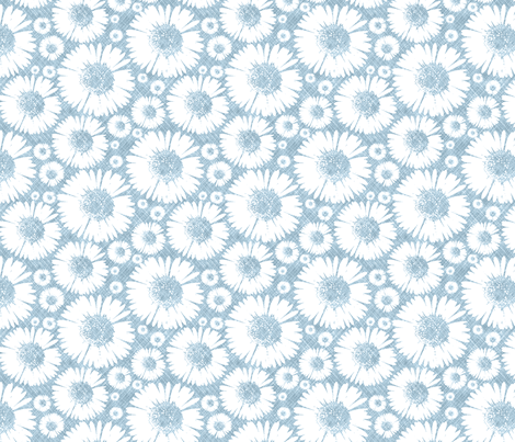 Retro Summer Daisy - Sky fabric by kristopherk on Spoonflower - custom fabric