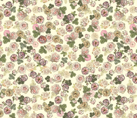 English Roses White fabric by juliamonroe on Spoonflower - custom fabric