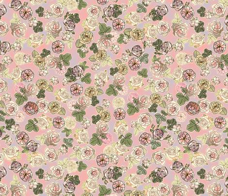 English Roses Pinky Blue fabric by juliamonroe on Spoonflower - custom fabric