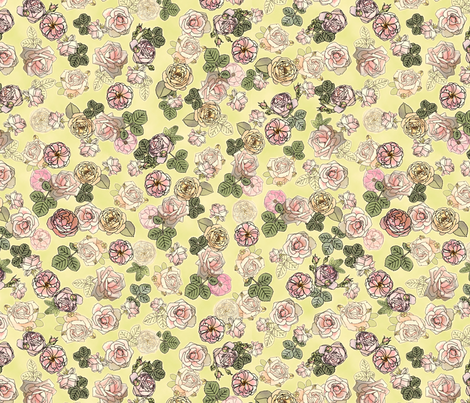 English Roses Green fabric by juliamonroe on Spoonflower - custom fabric