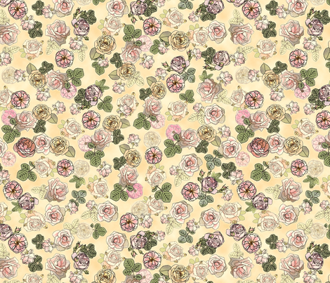 English Roses Cream fabric by juliamonroe on Spoonflower - custom fabric
