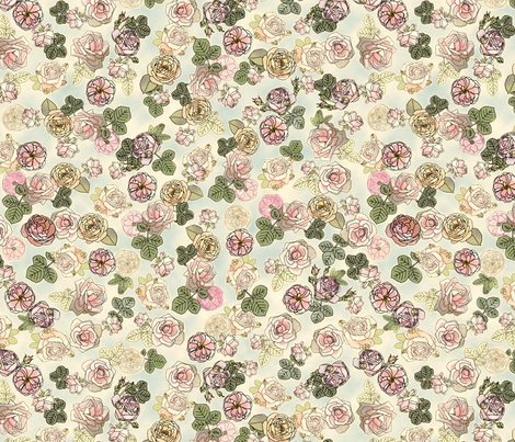 English Roses Blue fabric by juliamonroe on Spoonflower - custom fabric